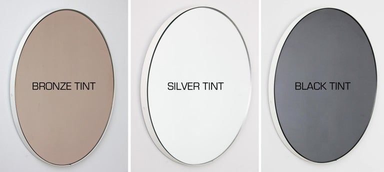 Orbis Round Silver Tinted Mirror with White Frame, Extra Large For Sale 2