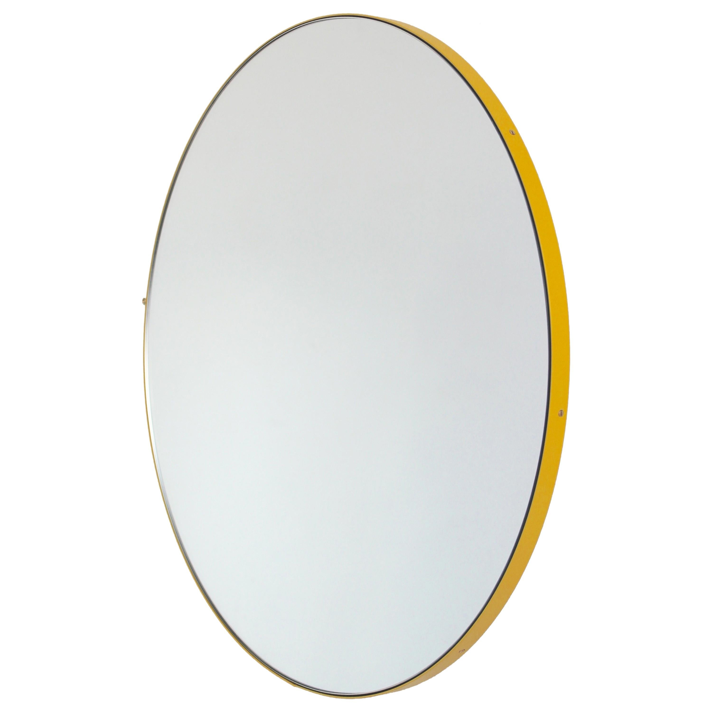 Orbis™ Round Modern Mirror with Yellow Frame - Small