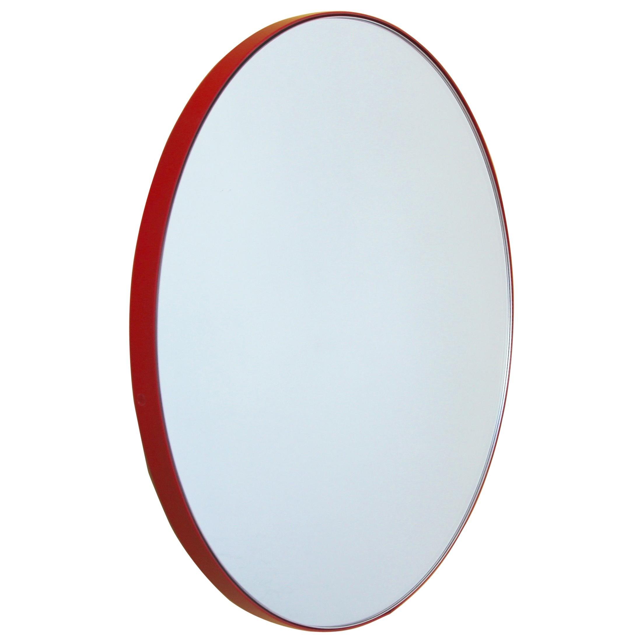 Orbis™ Round Minimalist Bespoke Mirror with Red Frame - Medium