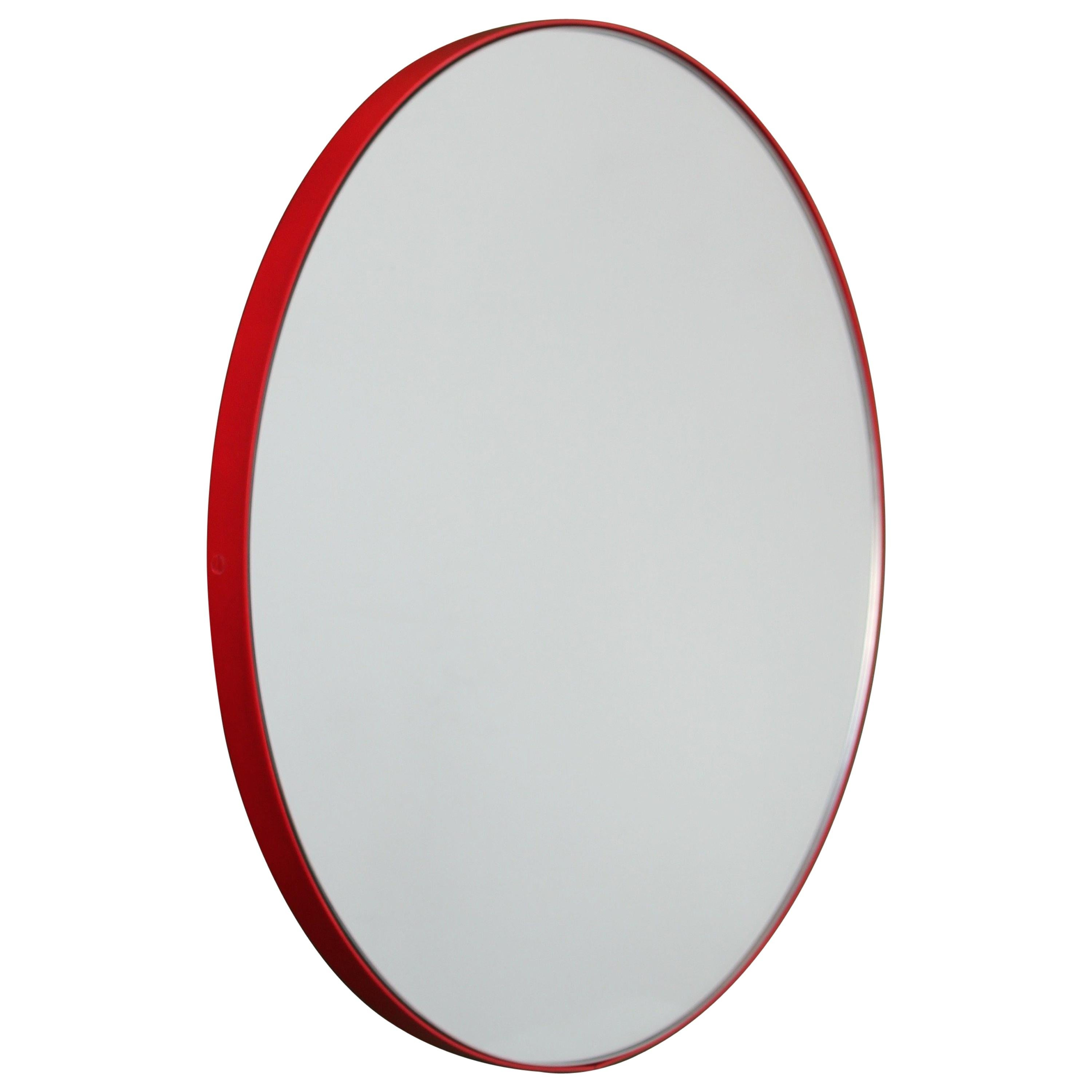 Orbis™ Round Modern Customizable Mirror with Red Frame - Oversized