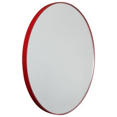 Modern Art Deco Silver Tinted Orbis™ Round Oversized Mirror with Red Frame