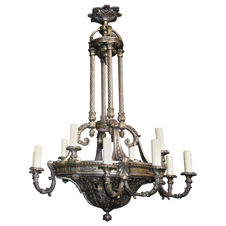 Silver over Bronze Neoclassical Chandelier