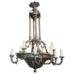 Silver over Bronze Neoclassical Chandelier