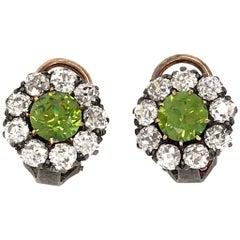 Silver Over Gold Rare Demantoid Garnet and Diamond Clip-On Earrings