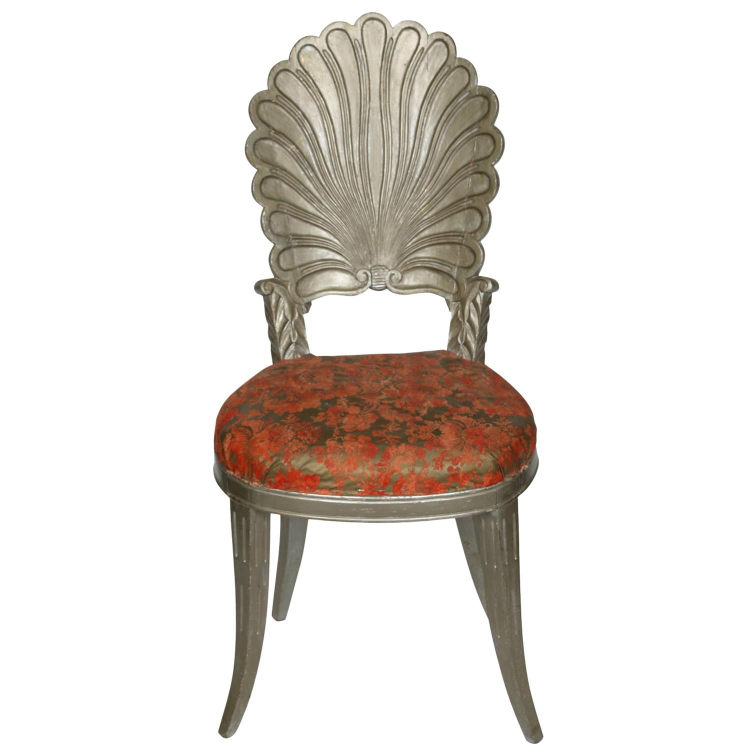 Silver Painted Grotto Shell Chair