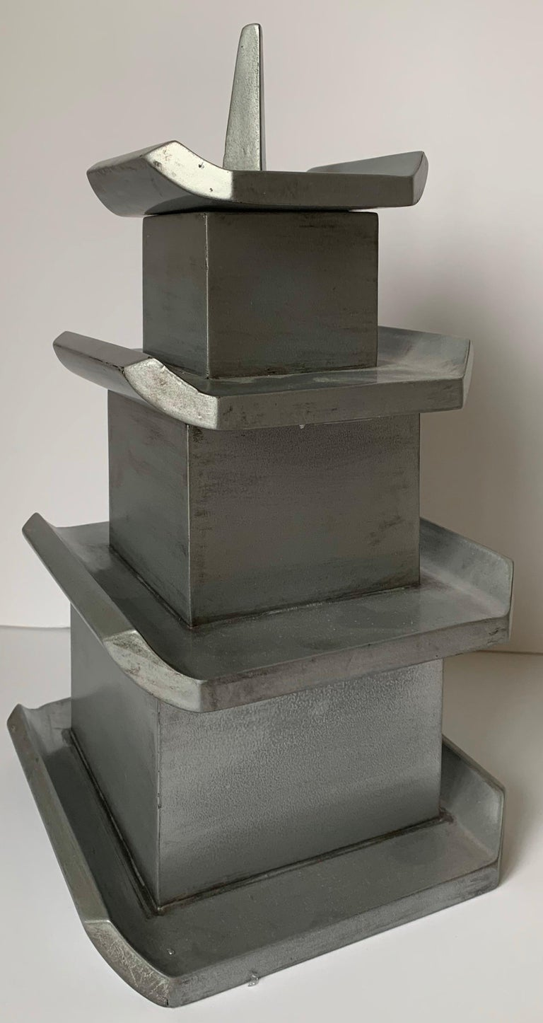 Silver Painted Wooden Pagoda Storage Box For Sale 3