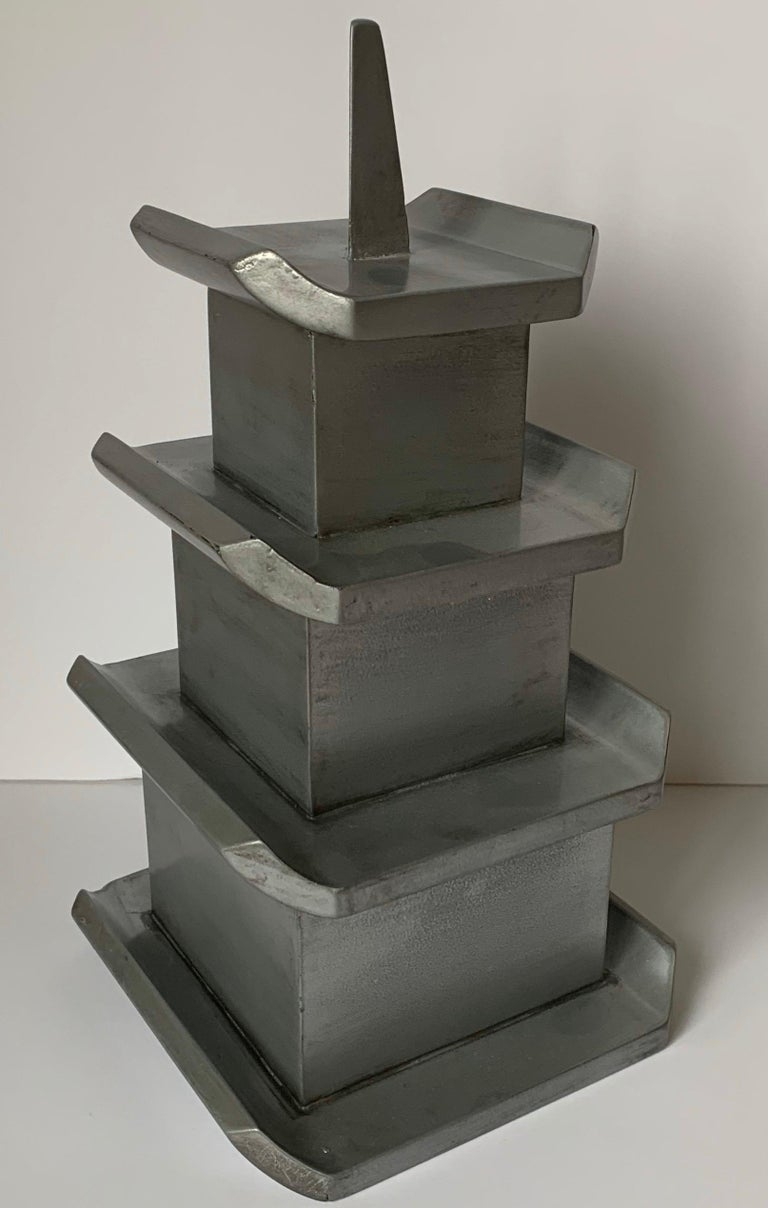 American Silver Painted Wooden Pagoda Storage Box For Sale