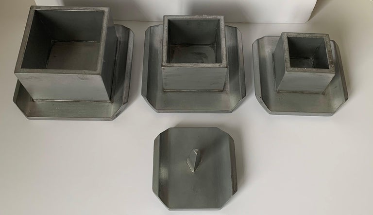 Contemporary Silver Painted Wooden Pagoda Storage Box For Sale