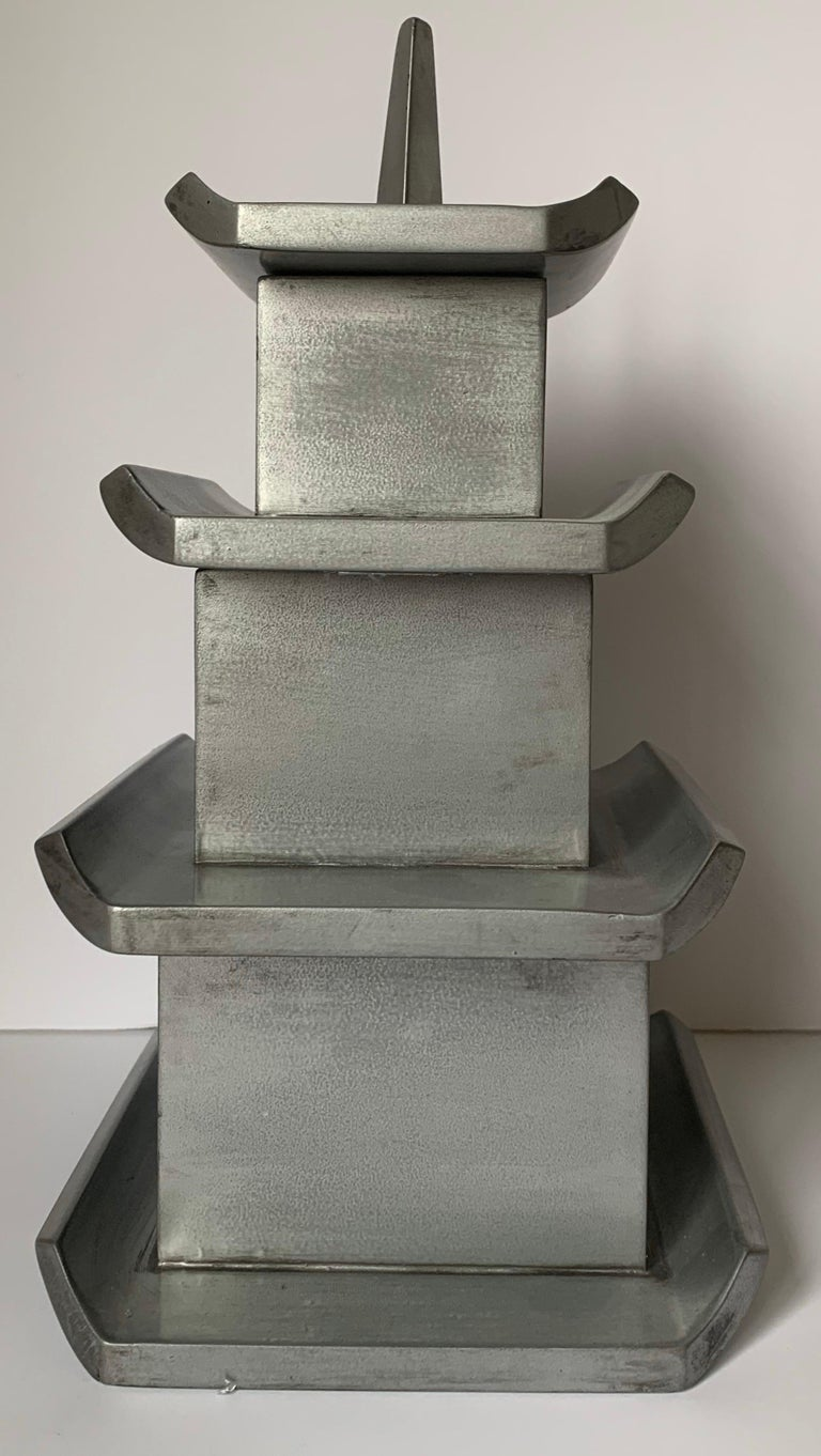 Silver Painted Wooden Pagoda Storage Box For Sale 1
