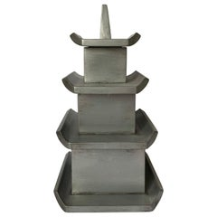 Silver Painted Wooden Pagoda Storage Box