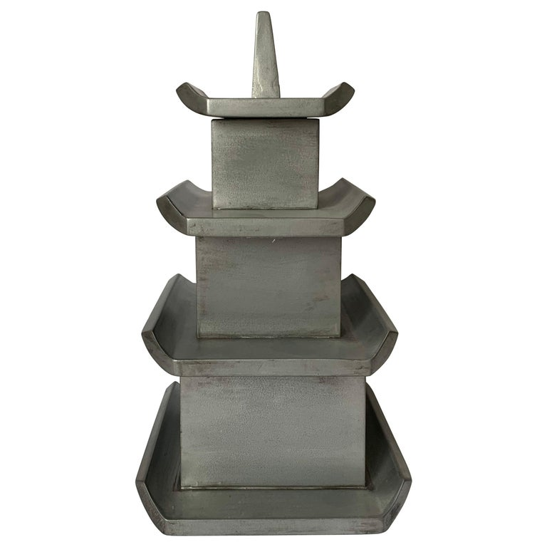 Silver Painted Wooden Pagoda Storage Box For Sale
