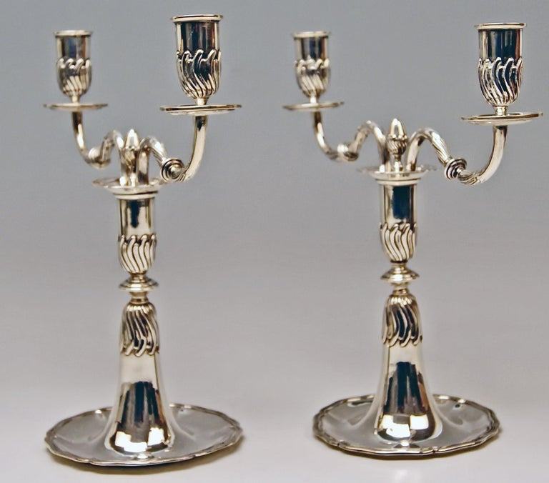 Gorgeous Silver Pair of Nicest Candlesticks of finest manufacturing quality as well as of most elegant appearance. -  These candlesticks were made during HIGH VICTORIAN  PERIOD  (c.1875-80).  They are stunningly made in following manner:  Surface of