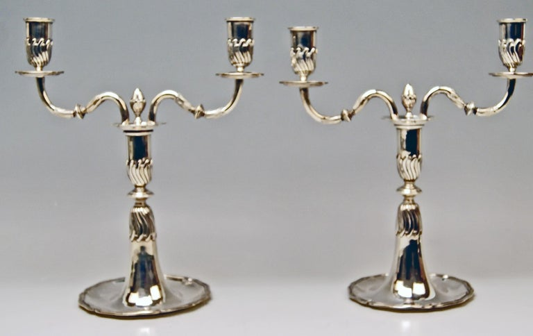 Spanish Silver Pair of Candlesticks, possibly Spain, made circa 1880  For Sale