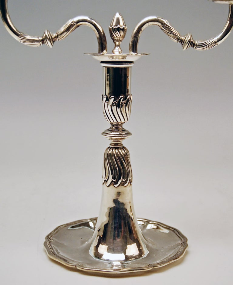 Silver Pair of Candlesticks, possibly Spain, made circa 1880  In Excellent Condition For Sale In Vienna, AT