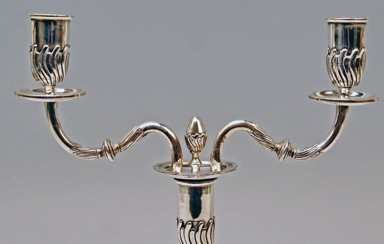 Late 19th Century Silver Pair of Candlesticks, possibly Spain, made circa 1880  For Sale
