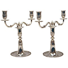 Silver Pair of Candlesticks, possibly Spain, made circa 1880