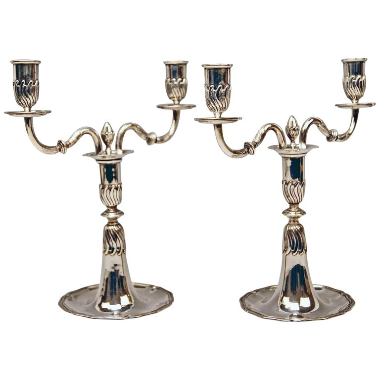 Silver Pair of Candlesticks, possibly Spain, made circa 1880  For Sale