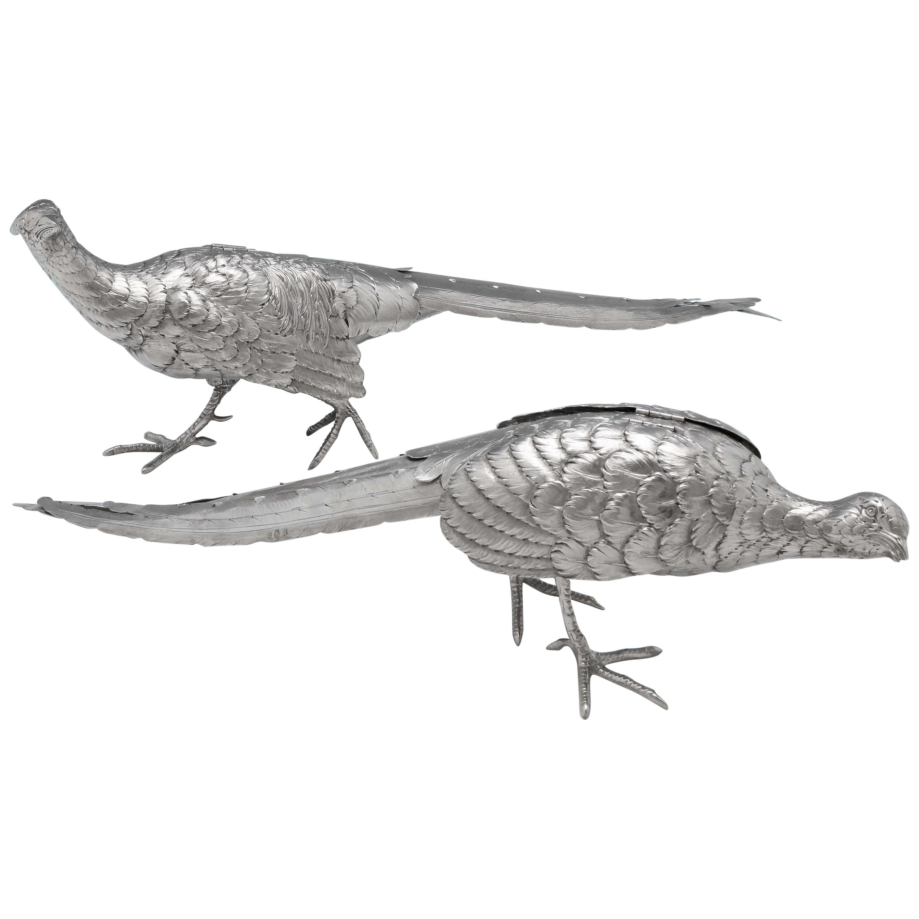 Antique German Silver Pair of Pheasants Made Circa 1900