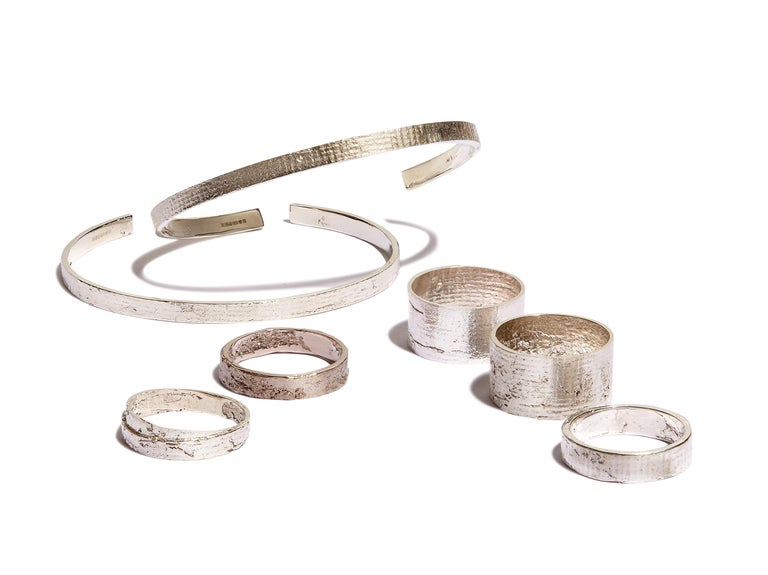 This classic cuff bracelet is handcrafted in solid sterling silver with a shimmering rustic texture.  Every piece in this collection is individually hand-crafted in paper and cast directly into precious metal in a unique and innovative process.