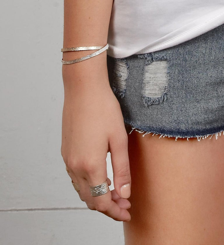 Women's Silver Paper Cuff by Allison Bryan For Sale
