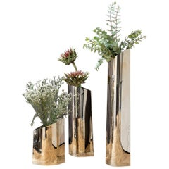 Silver Parova Vase 3 Set Polished Stainless Steel by Zieta