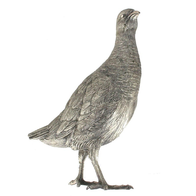 Early Victorian Silver Partridge Sculpture For Sale