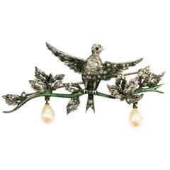 Silver, paste, enamel and paste pearl 'en tremblant' bird brooch, C. Dior, 1958