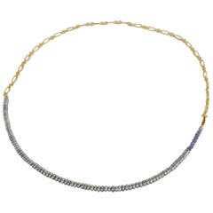Tanzanite Silver Pearl Beaded Choker Gold Filled Chain Necklace J Dauphin