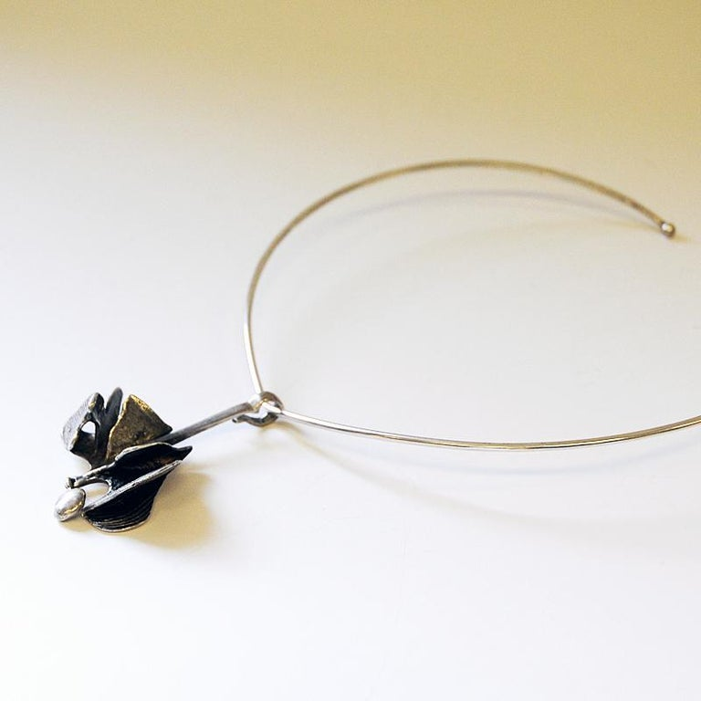 Swedish Silver Pendant on a Clave by Ibe Dahlquist, 1960s, Sweden For Sale