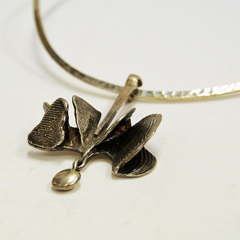 Silver Pendant on a Clave by Ibe Dahlquist, 1960s, Sweden In Good Condition For Sale In Stockholm, SE
