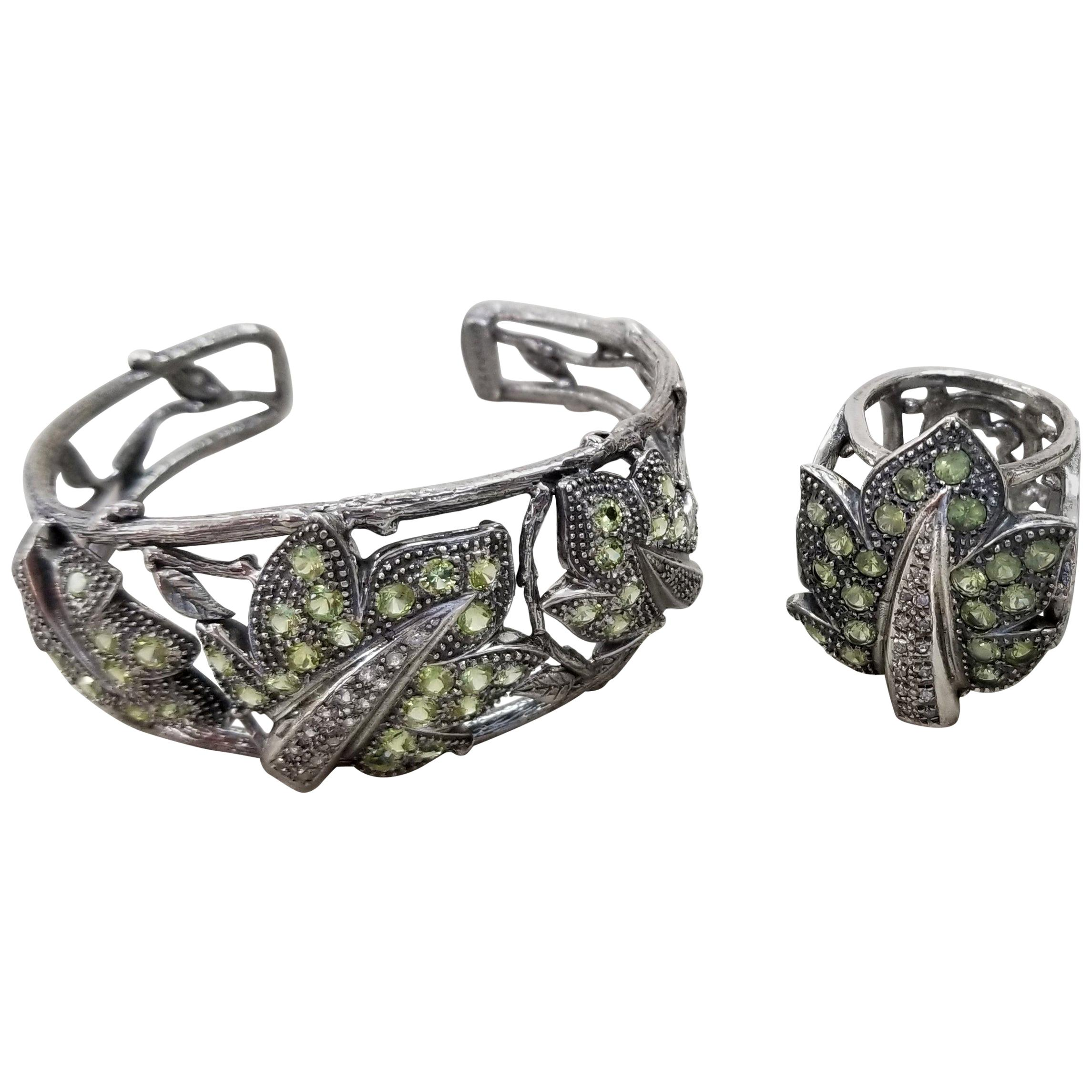 Silver Peridot and White Sapphire Leaf Cuff and Ring