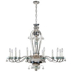 Silver Plate and Glass Art Deco Chandelier with Crystal Ball Drops, circa 1930