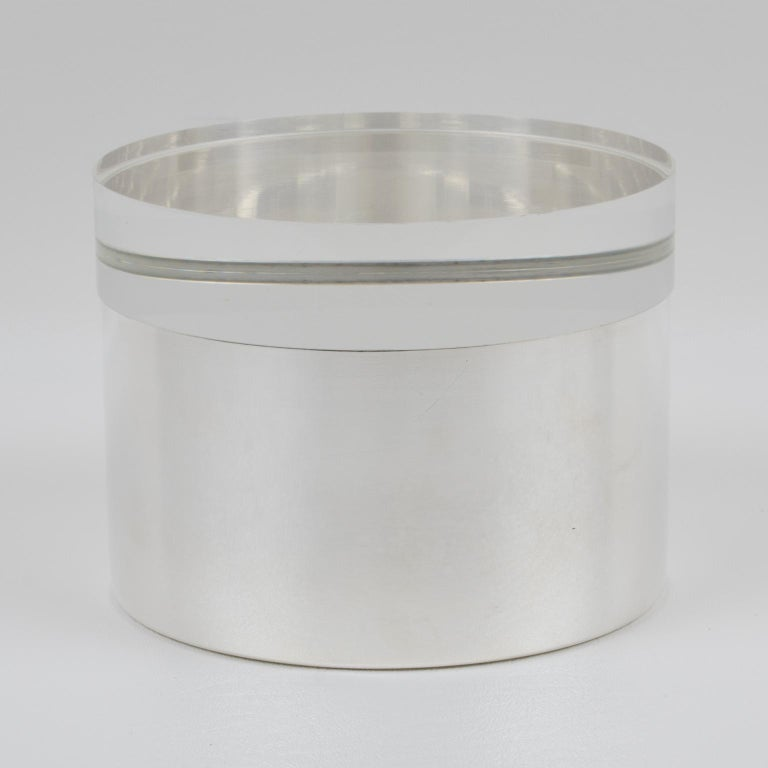 Mid-Century Modern Silver Plate and Lucite Round Box by Debladis, Paris For Sale