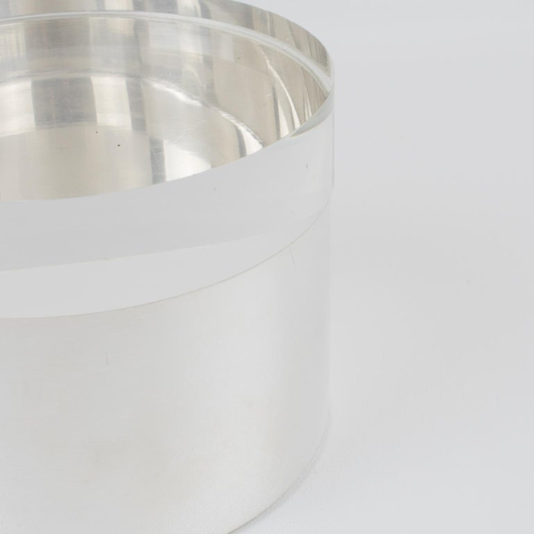 Mid-20th Century Silver Plate and Lucite Round Box by Debladis, Paris For Sale
