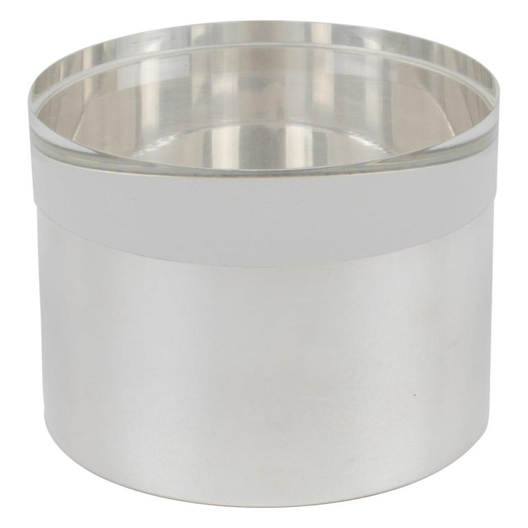 Silver Plate and Lucite Round Box by Debladis, Paris For Sale