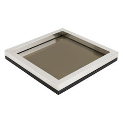 Silver Plate and Smoke Glass Tray Catchall Vide Poche by Debladis, Paris