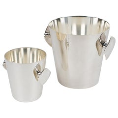 Silver Plate Barware Champagne Wine Cooler and Ice Bucket by Saint Medard, a set