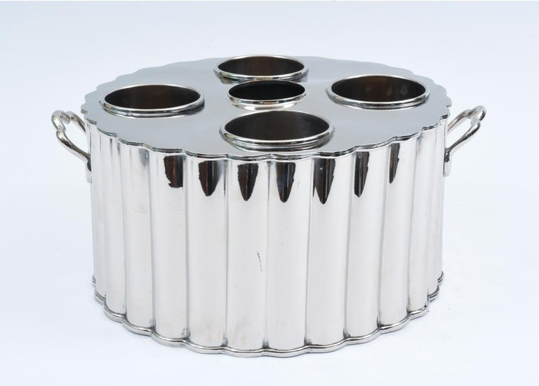 Italian Silver Plate Barware / Tableware Four Bottles Holder with Handles For Sale