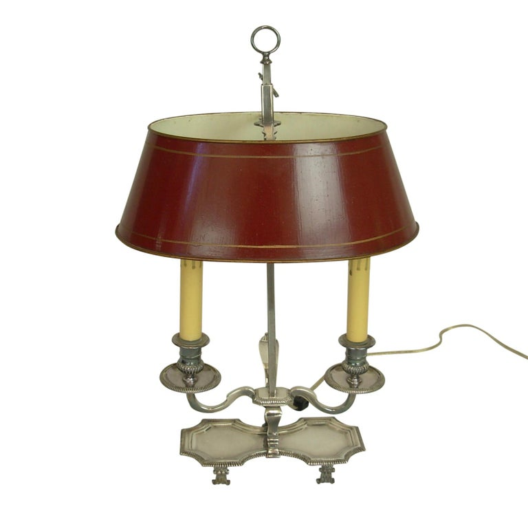 Painted Silver-Plate Bouillotte Lamp with Red Tole Shade, Early 20th Century For Sale