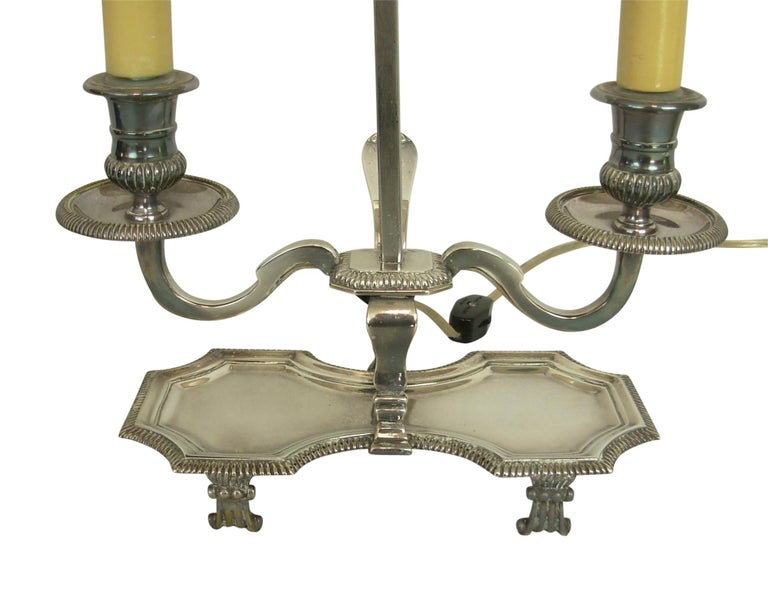 Silver Plate Silver-Plate Bouillotte Lamp with Red Tole Shade, Early 20th Century For Sale