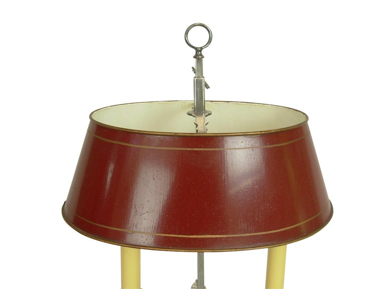 Silver-Plate Bouillotte Lamp with Red Tole Shade, Early 20th Century For Sale 1