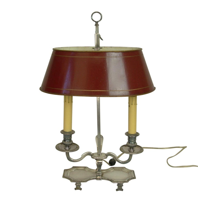 Silver-Plate Bouillotte Lamp with Red Tole Shade, Early 20th Century For Sale