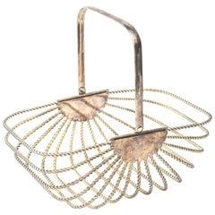 Silver-Plate Bread Basket Vintage Barware