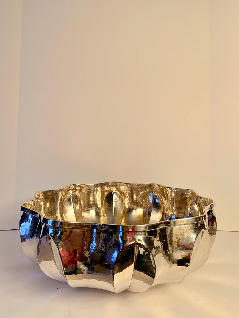 Mid-Century Modern Silver Plate Center Piece Bowl For Sale