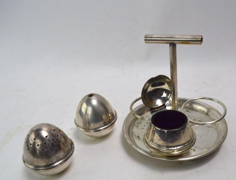 British Silver Plate Condiment Set after Christopher Dresser For Sale