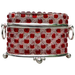 Silver Plate Cut Glass Jewelry Casket Case Box, 20th Century