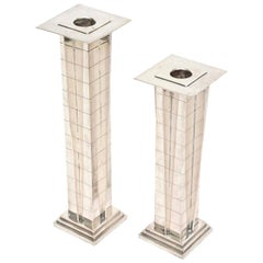 """Silver Plate Deco Style """"Skyscraper"""" Candlesticks Pair of Vintage"""