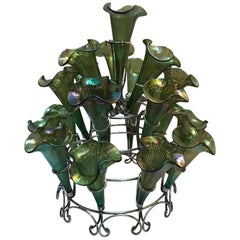 Silver Plate Epergne in the Style of Loetz Glass
