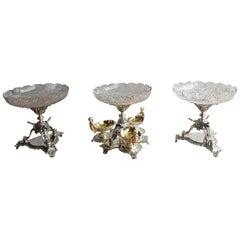 Silver-Plate Gold Gilt Cut Crystal Garniture with Cherubs