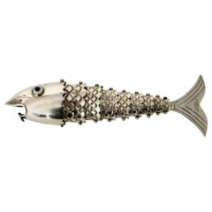 Silver Plate Gucci Made in Italy Bottle Opener in the Form of a Fish